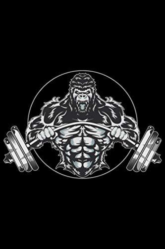 Gorilla biegt Langhantel für Muskel Sport Kraftsport: DIN A5 Liniert 120 Seiten / 60 Blätter Notizbuch Notizheft Notiz-Block Fitness Gym Workout Training Fitnessstudio Motive