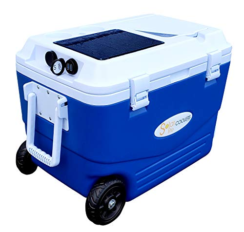 Solar Life Spring Sale Cooler -SELF Charging! Charges Phones, iPhones, Android, Tablets - Ice up to 5 Days - Wheels for Transport - Fishing, Hunting, Camping, Beach, Hurricane Relief
