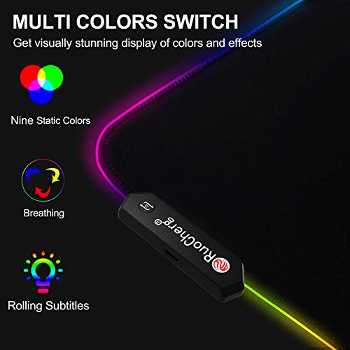 RuoCherg RGB Mauspad, 800 x 300 mm Gaming Mousepad mit 12 Beleuchtungs-Modi, Wasserdicht Anti Rutsch Mouse Matte für Computer PC Professionelle Gamer - 5