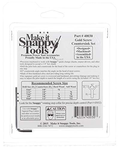 Snappy Tools Quick-Change 5-Pc. Countersink Drill Bit Set. Proudly Made in the USA.
