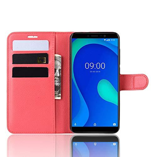 DAMAIJIA Funda Movil para Wiko Y80 Carcasa Cuero PU Silicona Magnetic Wallet Protector Teléfono Flip Back Cover For Y80 Wiko Y80 Y 80 Tapa con Soporte (Red)