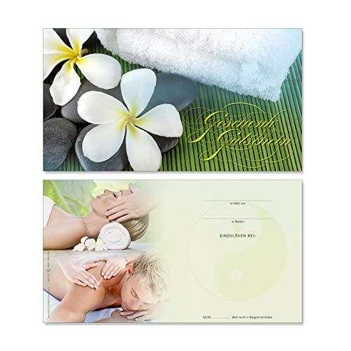 50 hochwertige Gutscheinkarten Geschenkgutscheine. Gutscheine für Massageinstitut Spa Kosmetik Physiotherapie. Vorderseite hochglänzend. MA1227