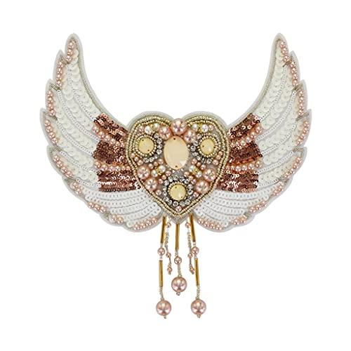 GYZX Bolsa Decorativa de Las Insignias de Lentejuelas de Las alas del corazón Bricolaje Coser en Apliques artesanía Aplique