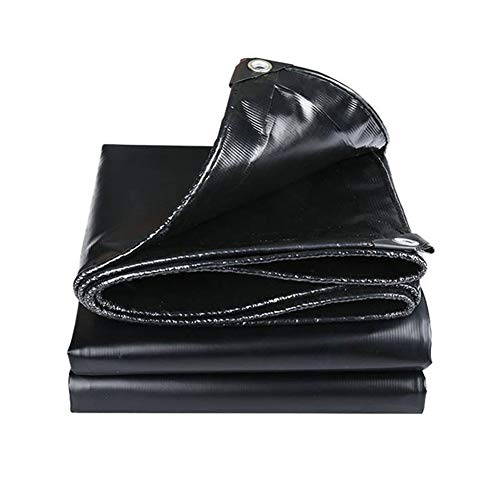 YBZX Heavy Duty Black Tarpaulin PE 500GSM Universal Tarp Sheet Cover Waterproof Rot and Rip Proof Tarp with Grommets and Reinforced Edges Protecting Car, Wood, Boat, Garden, Camping, Outdoor