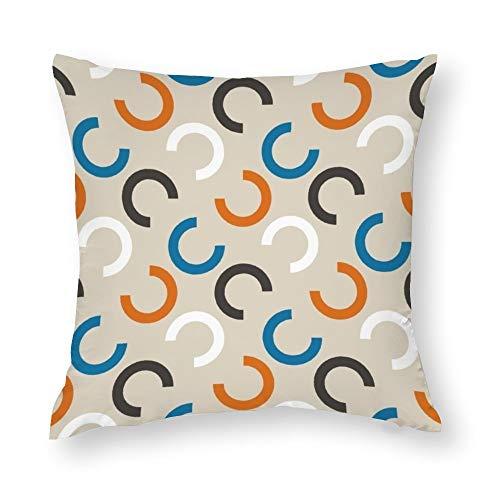 YY-one Fundas de almohada decorativas retro abstractas geométricas sin costuras, diseño decorativo, funda de cojín de algodón para sofá, silla, cuadrado, 40,6 x 40,6 cm
