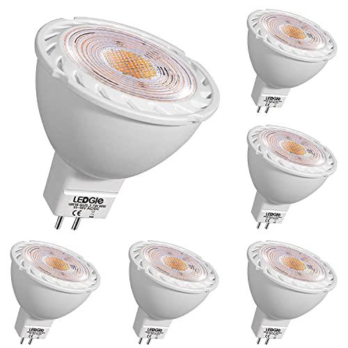 LEDGLE GU5.3 MR16 7W LED Spots Lampe Warm Weiß LED Reflektor ersetzt 60W Halogenlampe LED Strahler 12V GU 5.3 LED Leuchtmittel 6er