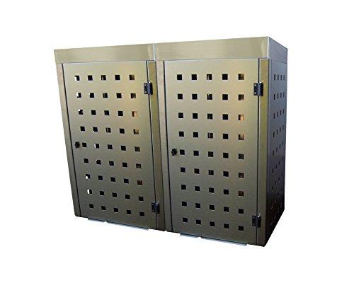 Mülltonnenbox Edelstahl, Modell Eleganza 240 Liter als Zweierbox mit Pflanzwanne