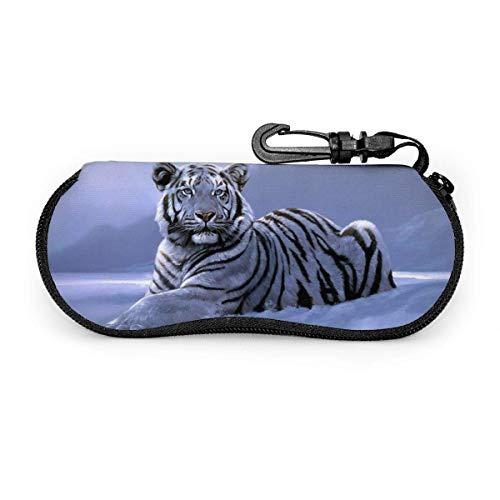 Tiger In The Snow Gafas de sol Estuche blando Cremallera Estuche para gafas Estuche protector con clip para cinturón