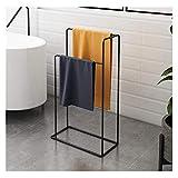 GJXJY Towel Racks For Bathroom Freestanding Black, 2-Tier Metal Towel Holder Stand For Pool, Towel Holder For Pool Deck,...