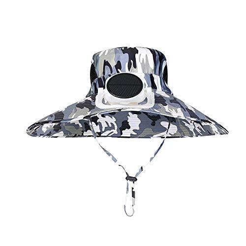 QSs-Ⓡ mit Lüfter USB-Aufladung Einstellbarer Wind Sommer Angeln Golf Baseball Cap Mit Solarventilator Sonnenhut Männer und Frauen Atmungsaktives Netz Doppelte Aufladung Einstellbare Größe Outdoor