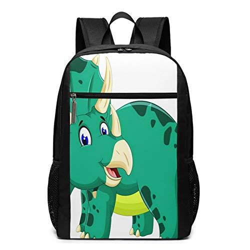 School Backpack Dinosaur Cute Triceratops Cartoon, College Book Bag Business Travel Daypack Casual Rucksack for Men Women Teenagers Girl Boy