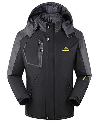 Chaqueta para Hombre Abrigo Impermeable para Deportes Esquí Invierno Chaqueta de Nieve a Prueba Viento con Capucha