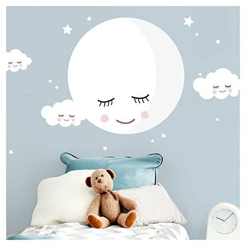 Little Deco Wandaufkleber Kinderzimmer Junge Mädchen Mond & Wolken weiß I L - 129 x 7 cm (BxH) I Wandtattoo Babyzimmer selbstklebend Wandsticker Deko DL245
