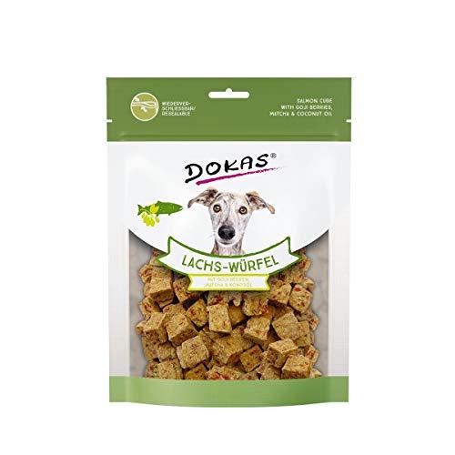 DOKAS Lachs-Würfel – Premium Superfood-Snack für Hunde aus Lachs – Mit Goji Beeren, Matcha & Kokosöl – 1 x 150 g