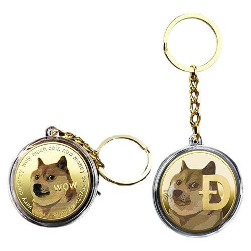 Dogecoin Schlüsselanhänger mit Münzen, physische DogeCoins - - Large