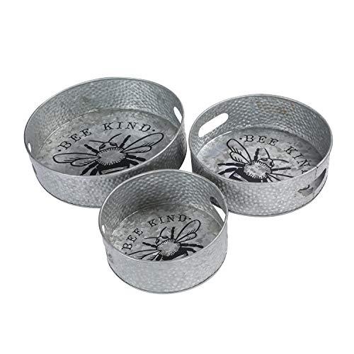 Winlay Antike Eisentablett, 3er-Set, rund, bienenfreundlich, Tee/Kaffee, verzinktes Eisen, rundes Tablett, 3er-Set