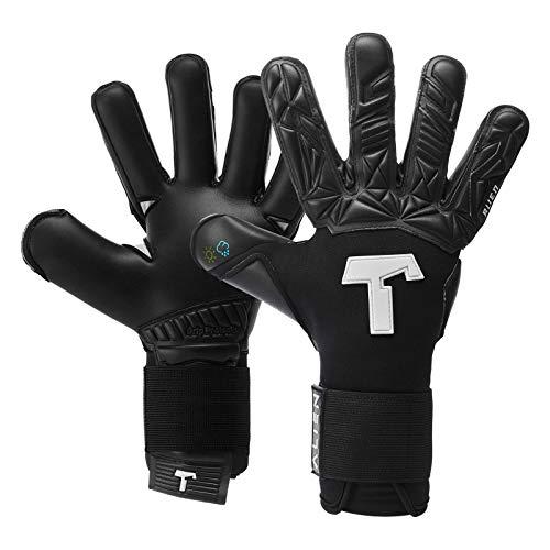 T1TAN Alien Black-Out Torwarthandschuhe für Erwachsene, Fußballhandschuhe Herren Innennaht und 4mm Profi Grip - Gr. 11