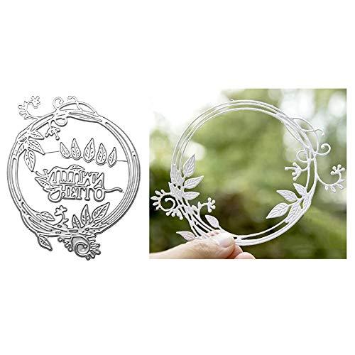 Zhouba Metall-Stanzschablone für Kartenherstellung, Blattgirlande, Kreis, DIY, Scrapbooking, Papierkarten, Foto-Handwerk, Schablone – Silber