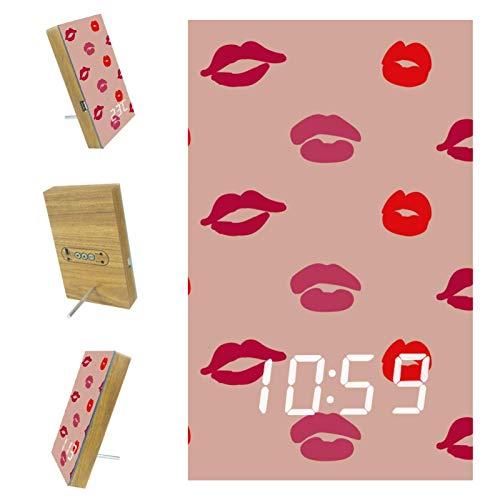 Vockgeng Despertador Digital Estampado de Labios de Mujer Rojo Rosado Reloj Despertador Digital con Pantalla LED de Temperatura, Puerto USB,12/24H 15.7x10x2.3cm