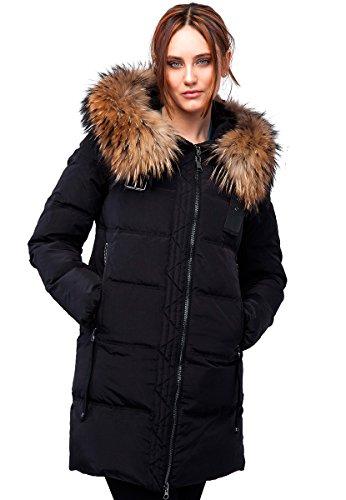 Grimada 017CH Damen Winterjacke Mantel in Daunen-Optik CLASNA mit Echtfellkapuze (36, schwarz)