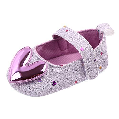 TOPKEAL Lindos Zapatos de Princesa para Bebés de Interior con Suela Blanda y Lentejuelas Brillantes de Amor para Niñas