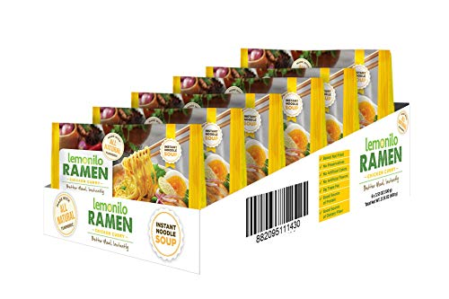 Lemonilo Ramen - Chicken Curry Soup - Healthy Instant Ramen - Oven-Baked Noodles with Tumeric - Made with All-Natural Ingredients - Quick Meal Kit (3.53 Oz) - Pack of 6