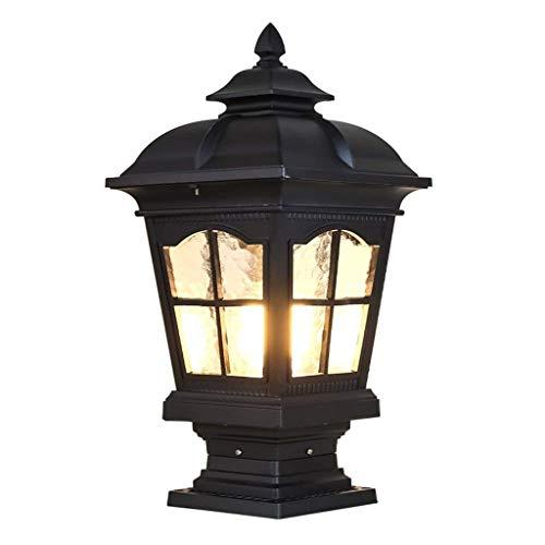 MYXMY Europäische Garten Villa Tür Lampe Heimanwender periphere Wandlampe Gartenlampe quadratische Säule Lampe alle Aluminium Säule Lampe (Color : Black)