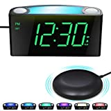 Extra Loud Alarm Clock, Digital Vibrating Alarm Clock Bed Shaker for Heavy Sleepers Deaf Hearing Impaired Seniors - Colored Light, 2 USB Chargers,Large LED Display&Dimmer,Plug-in Clock Battery Backup