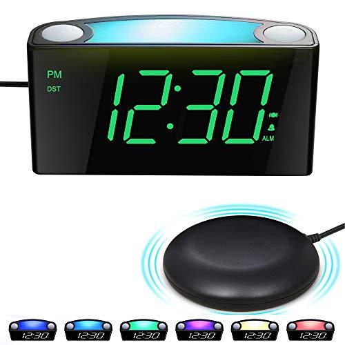 Vibrationswecker für Gehörlose&tiefschläfer, Wecker mit Lautem Alarm, Bett-Shaker, Großes LED-Anzeige&Dimmer, Farbwechsel Nachtlicht,USB-Ladegerät,Batterie-Backup,Schreibtisch Schlafzimmer Reisewecker