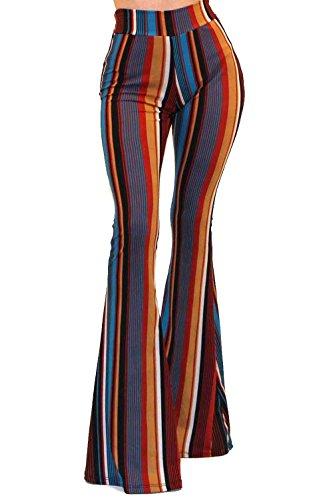 Vivicastle Women's Boho Comfy Stretchy Bell Bottom Flare Pants (FF43, Multi, Large)