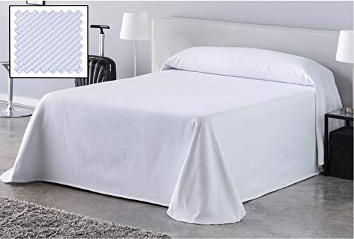 DHestia Hostelería - Colcha de Cama Blanca Hotel Tejido Colmena Nido de Abeja. (250x270 cm - Cama 135/160)