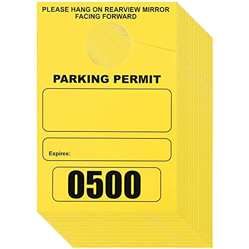 Juvale Parking Permit Hang Tag Blank Temporary Numbered Parking Pass (Yellow 500 Pack)