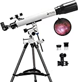 Telescopios para adultos, 70 mm de apertura y 700 mm de longitud focal profesional refractor de astronomía para niños y principiantes, con montura EQ, 2 oculares Plossl y adaptador para smartphone