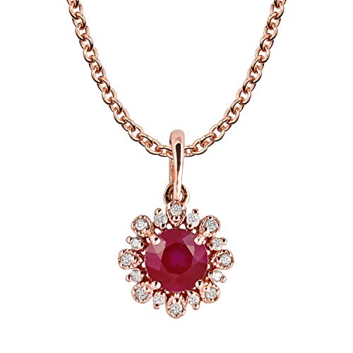 10k Rose Gold Genuine Round Ruby and Diamond Vintage Style Halo Pendant Necklace