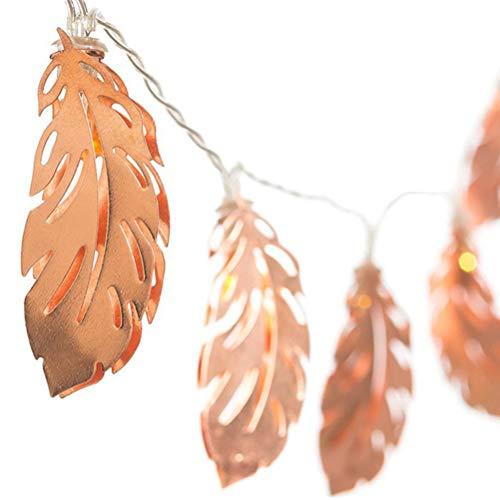 Uonlytech Guirlande lumineuse à LED en forme de plumes or rose avec feuilles en fer forgé pour décoration de mariage, fête, chambre à coucher, anniversaire (blanc chaud, 2,5 m)