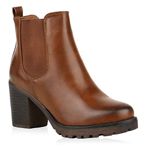 Damen Stiefeletten Blockabsatz Chelsea Boots Profilsohle 165957 Hellbraun Braun Avelar 41 Flandell