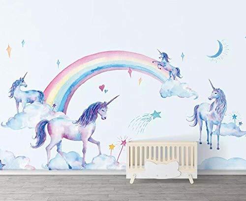 3D vliesbehang fotobehang abstract bijbehang maak behangmuurfoto fris handgeschilderd behang Tianma regenboog-eenhoornkinderachtergrond muur 3D van aquarel bijzonder aan 350*245 350 x 245 cm.
