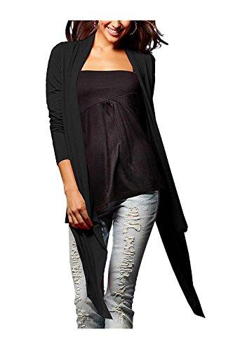 Laura Scott Damen-Jacke Zipfel-Jeseyjacke Schwarz Größe 34