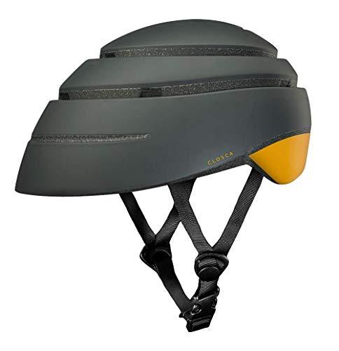 Closca Casco de Bicicleta para Adulto, Plegable Helmet Loop. Casco de Bici y Patinete Eléctrico/Scooter para Mujer y Hombre Unisex. Negro/Mostaza, Talla L
