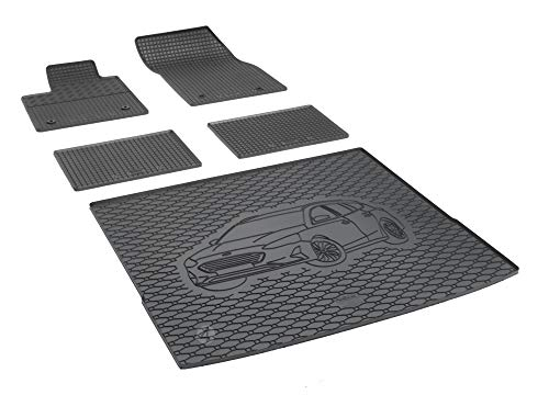 Passende Gummimatten und Kofferraumwanne Set geeignet für Ford Focus ab 2018 Kombi EIN Satz + Gurtschoner