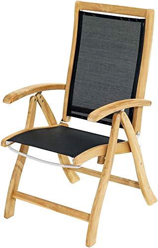 Ploß 1011690 Gartenstuhl-Hochlehner Teak Textilene klappbar