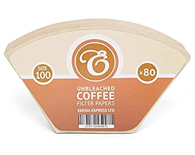80 Size 100 Coffee Filter Paper Cones, Unbleached for Melitta Aromaboy by EDESIA ESPRESS