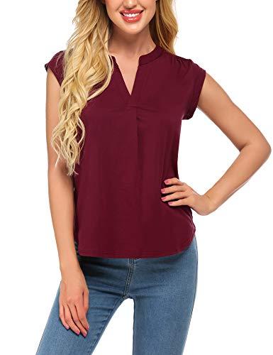 UNibelle Damska bluzka z dekoltem w kształcie litery V, t-shirt na lato, jednokolorowy, z krótkim rękawem, w stylu casual, tunika, luźny krój