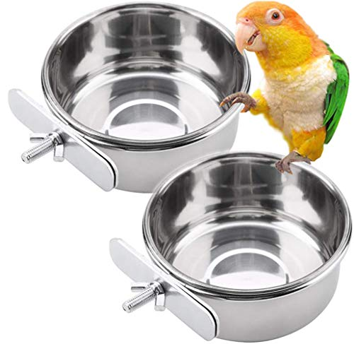 PINVNBY Parrot Feeding Cups Birds Food Dish Stainless Steel Parrot Feeders Water Cage Bowls with Clamp Holder for Cockatiel Conure Budgies Parakeet Parrot Macaw Small Animal Chinchilla Pack of 2