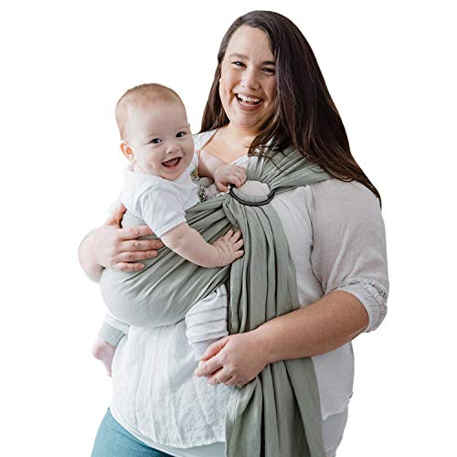 Nalakai Luxury Ring Sling Baby Carrier – Extra-Soft Bamboo and Linen Fabric - Lightweight Plus Size Infant Carrier Also for Newborns and Toddlers - Perfect Baby Shower Gift - Nursing Cover - Sage