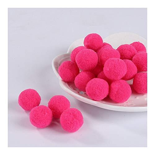 JIAHUI Pompones suaves pompones de felpa esponjosa para manualidades con pompón, bola de furball para decoración del hogar (color: rosa, tamaño: 20 mm, 10 g, 30 unidades)