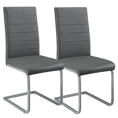 ArtLife Freischwinger Schwingstuhl Vegas 2er Set – Esszimmerstuhl mit Metall-Gestell & Bezug aus Kunstleder – Moderner Küchenstuhl in Grau