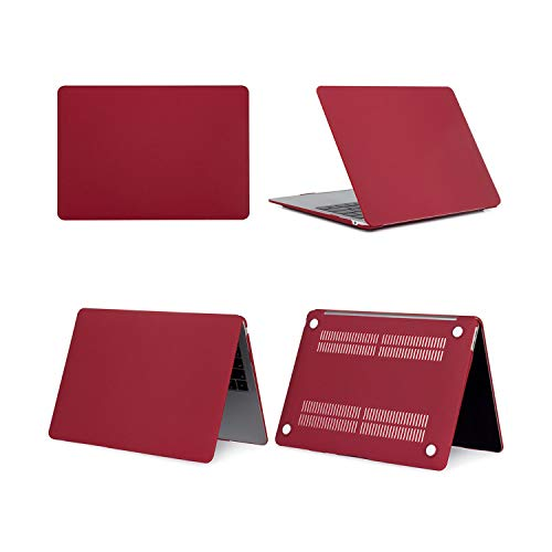 Laptop Case for MacBook Pro 13 Retina 11 12 16 15 Case Touch bar for MacBook Air 13 A2179 A1932 2020 New Shell + Keyboard Cover-Matte Wine Red-Model A1708