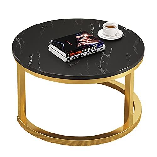 YF-Mirror Mesa de Centro Redonda Mesa Auxiliar de Metal Mesa Auxiliar Muebles de Escritorio de Almacenamiento Mesa de té con Textura de mármol Blanco/Negro para Sala de Estar Dormitorio