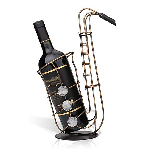 QqHAO Estante de Vino para saxofón, Estante para Botellas de Vino, Adornos de Hierro Forjado de Metal Retro, decoración del hogar, para Sala de Estar, gabinete de Vino, Cocina, Bar, Pub, Restaurante